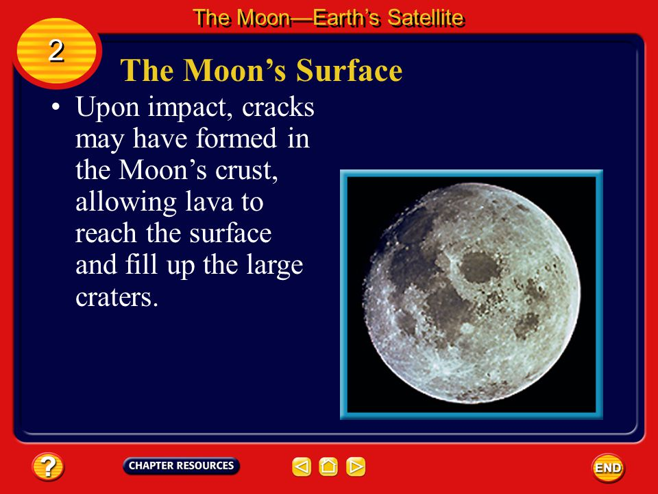 The Moon's Surface The Moon—Earth's Satellite 2 2 When you look at the Moon you can see many depressions called craters. Meteorites, asteroids, and co