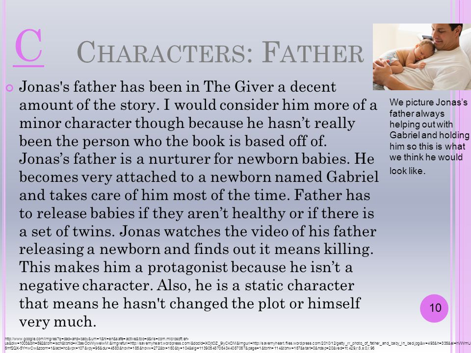 C HARACTERS : F ATHER Jonas's father has been in The Giver a decent amount of the story. I would consider him more of a minor character though because