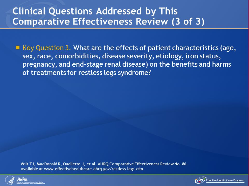  Key Question 3. What are the effects of patient characteristics (age, sex, race, comorbidities, disease severity, etiology, iron status, pregnancy,