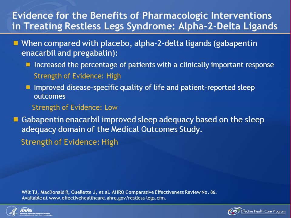  When compared with placebo, alpha-2-delta ligands (gabapentin enacarbil and pregabalin):  Increased the percentage of patients with a clinically important response Strength of Evidence: High  Improved disease-specific quality of life and patient-reported sleep outcomes Strength of Evidence: Low  Gabapentin enacarbil improved sleep adequacy based on the sleep adequacy domain of the Medical Outcomes Study.