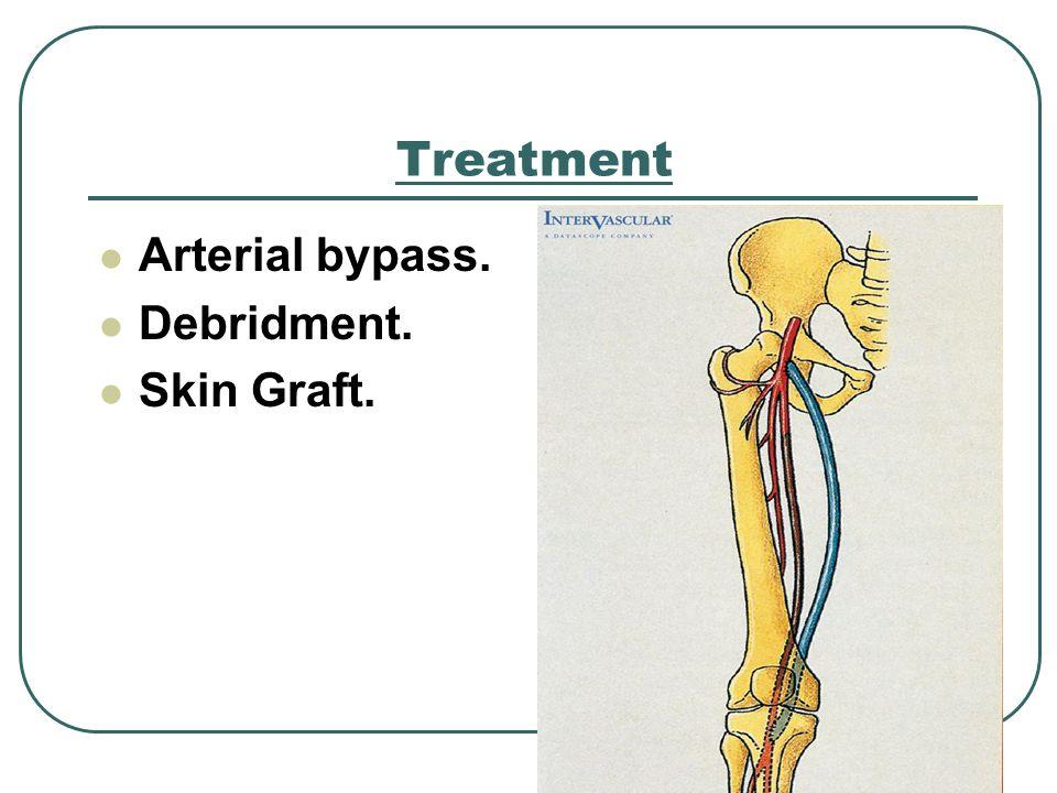 Treatment Arterial bypass. Debridment. Skin Graft.