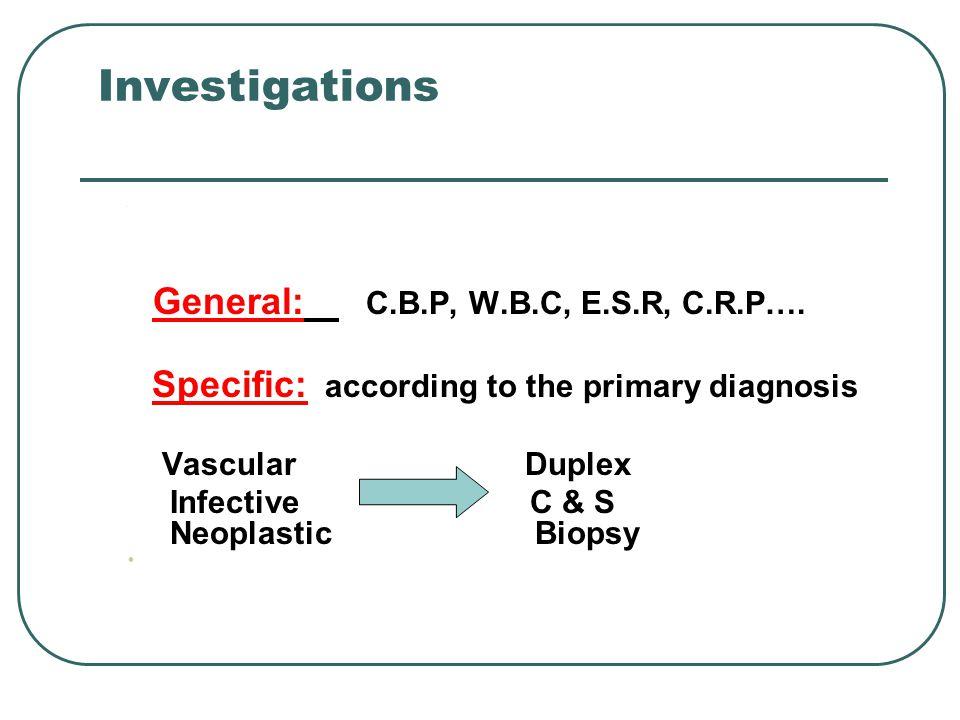 Investigations General: C.B.P, W.B.C, E.S.R, C.R.P….