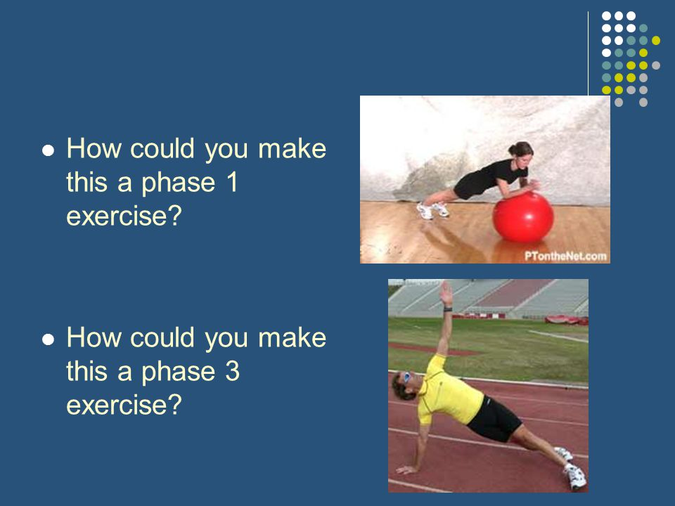 How could you make this a phase 1 exercise? How could you make this a phase 3 exercise?