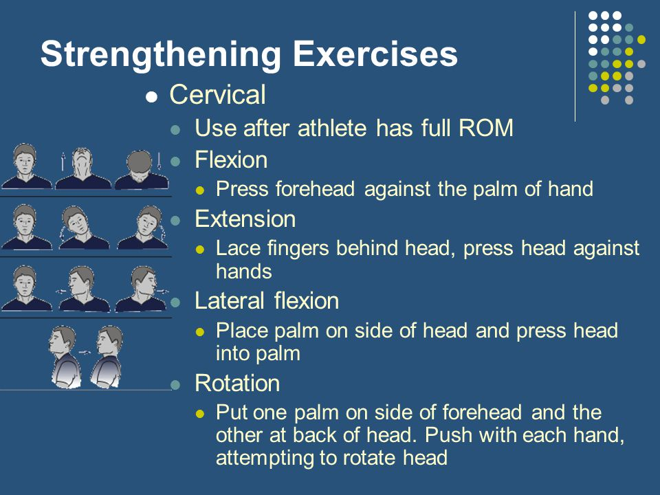Strengthening Exercises Cervical Use after athlete has full ROM Flexion Press forehead against the palm of hand Extension Lace fingers behind head, pr