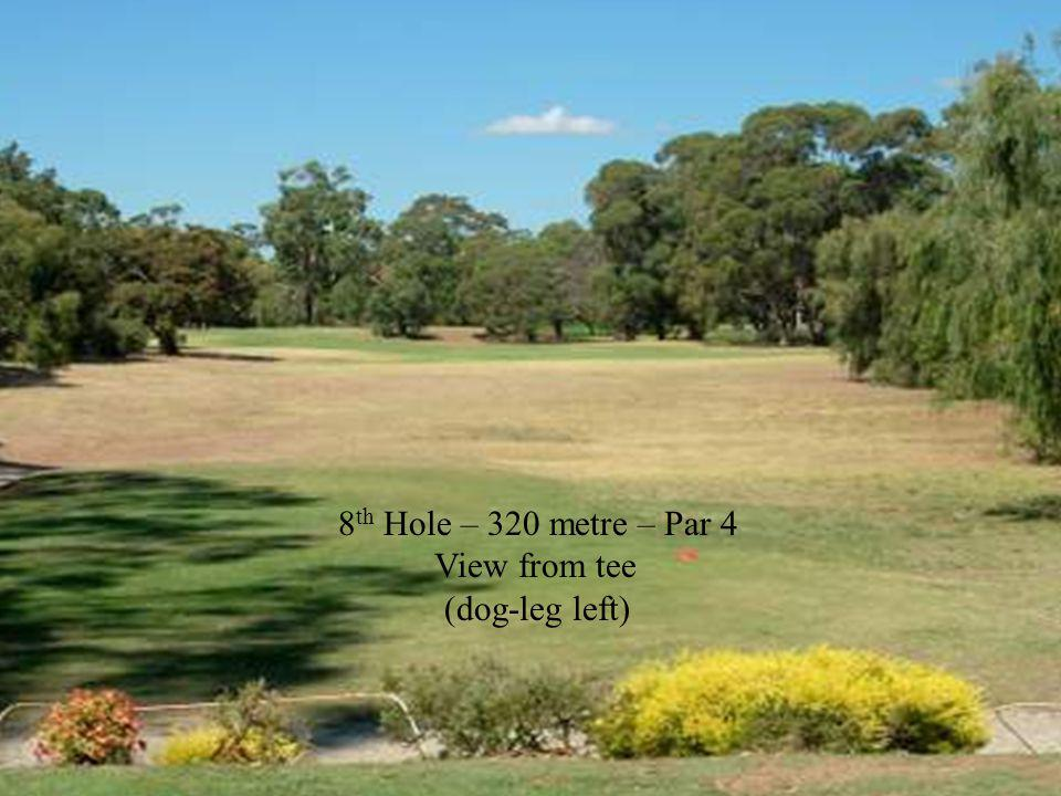 8 th Hole – 320 metre – Par 4 View from tee (dog-leg left)