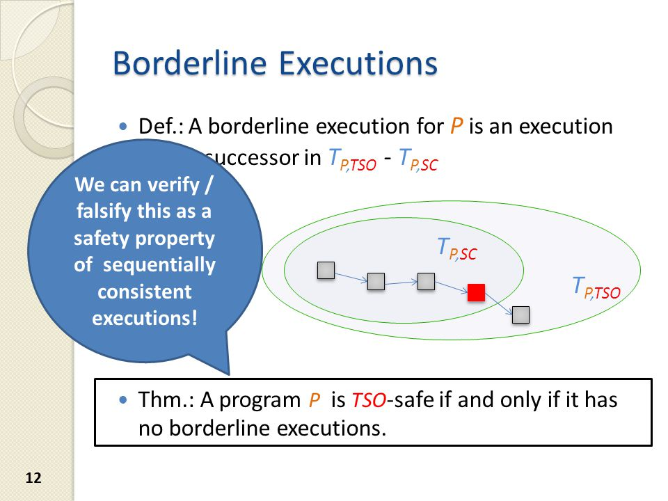 Example: TSO Borderline Execution 13 2.1 Store hw, 1 1.1 Store ii, 1 1.2 Load hw, 0 2.1 Store hw, 1 2.2 Load ii, 0 1.1 Store ii, 1 1.2 Load hw, 0 2.1 Store hw, 1 2.2 Load ii, 1 1.1 Store ii, 1 1.2 Load hw, 0 T P, SC T P, TSO Successor traces are traces with one more instruction.