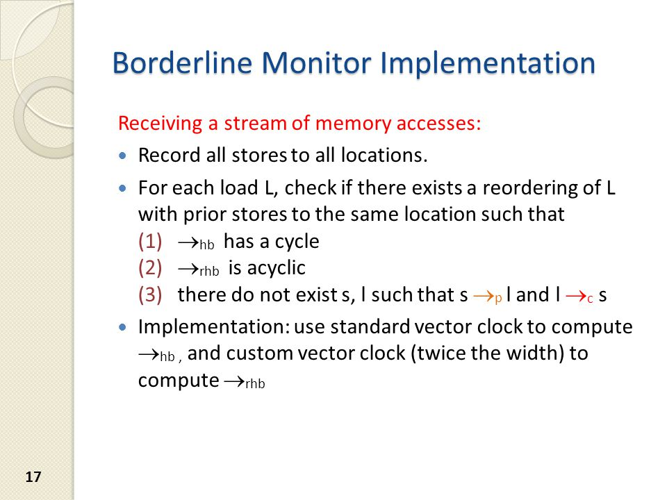 Borderline Monitor Implementation Receiving a stream of memory accesses: Record all stores to all locations.