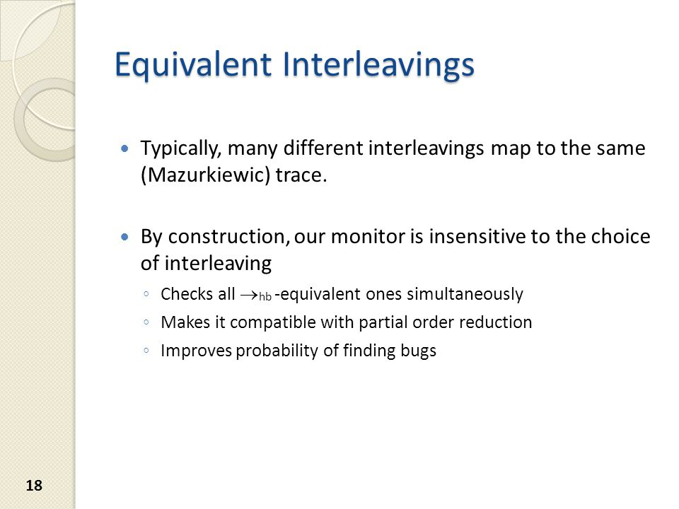 Equivalent Interleavings Typically, many different interleavings map to the same (Mazurkiewic) trace.