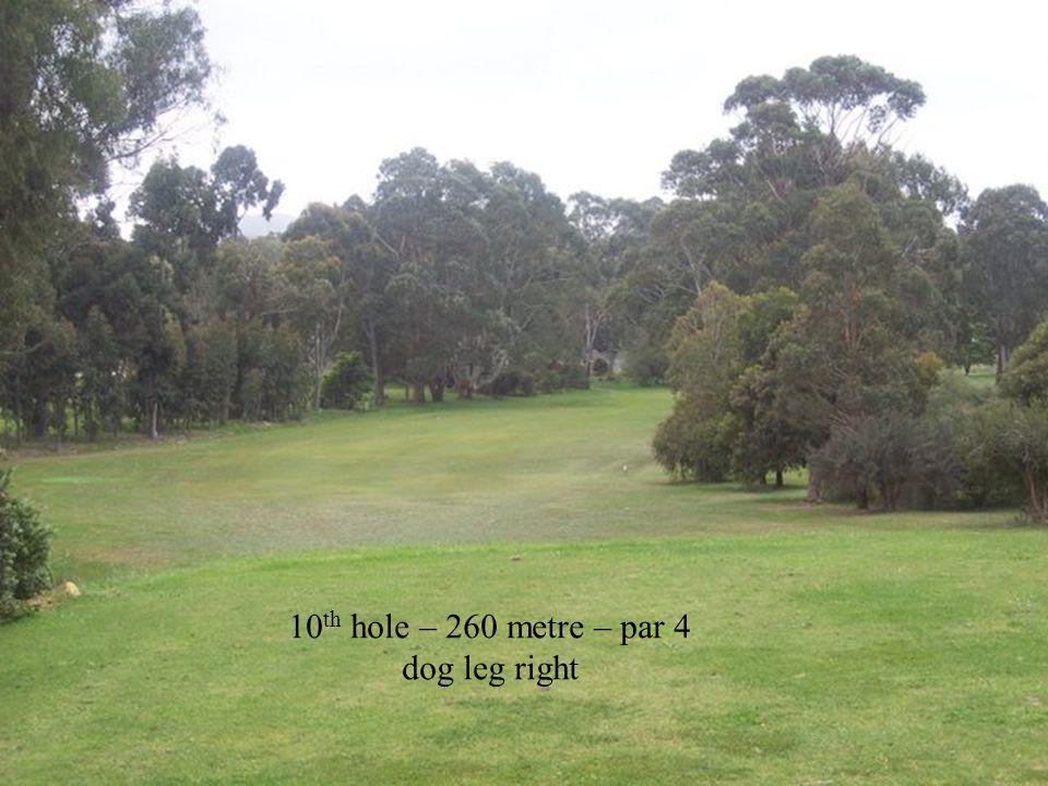 10 th hole – 260 metre – par 4 dog leg right