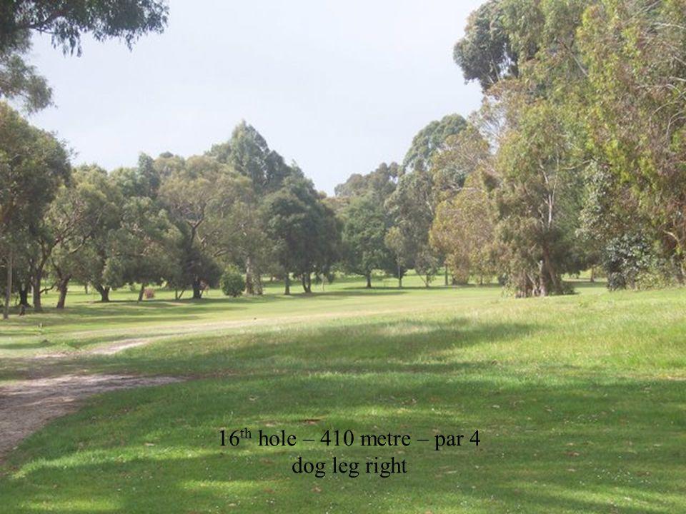 16 th hole – 410 metre – par 4 dog leg right