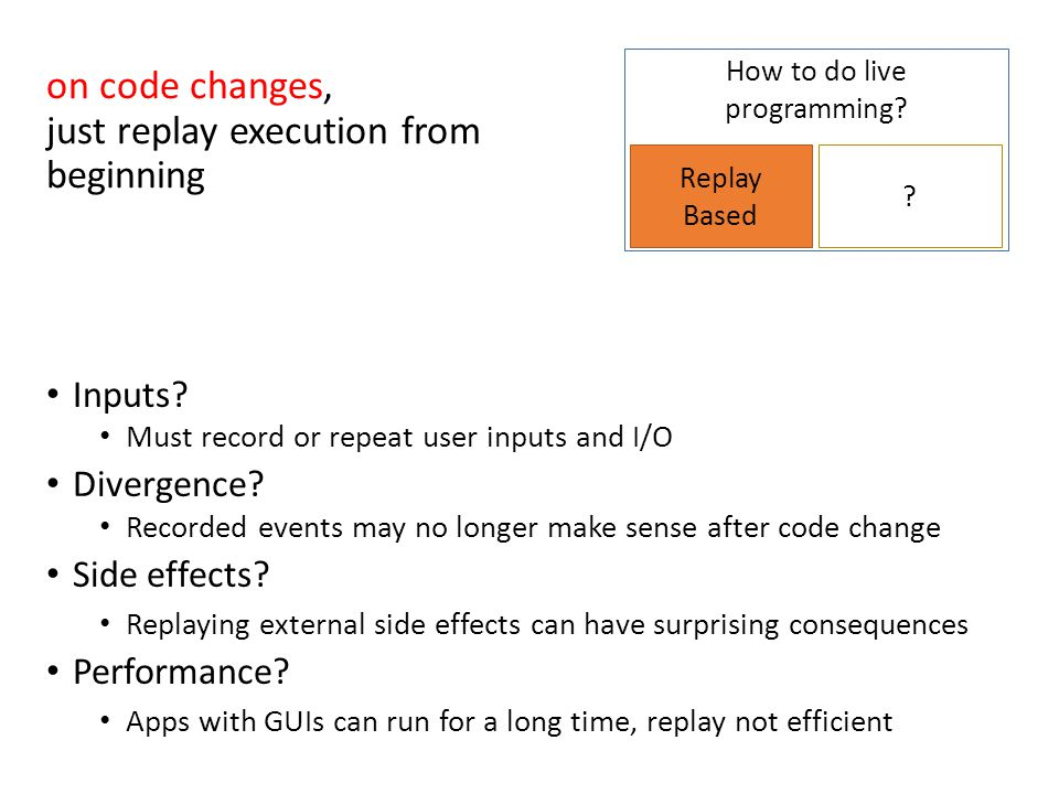 How to do live programming? Replay Based ? Inputs? Must record or repeat user inputs and I/O Divergence? Recorded events may no longer make sense afte
