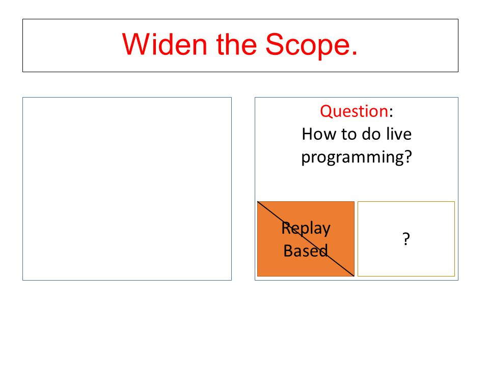 Widen the Scope. Question: How to do live programming? Replay Based ?