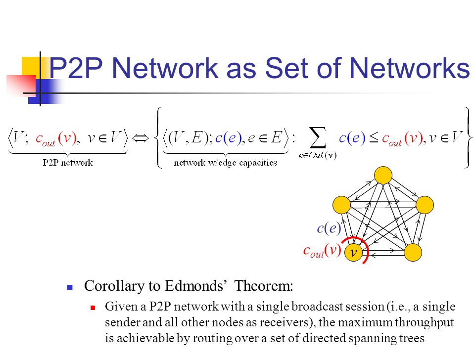 P2P Network as Set of Networks Corollary to Edmonds' Theorem: Given a P2P network with a single broadcast session (i.e., a single sender and all other nodes as receivers), the maximum throughput is achievable by routing over a set of directed spanning trees c out (v) v c(e)c(e)