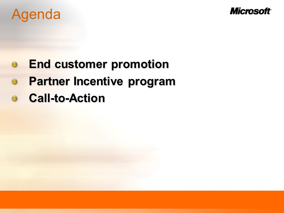 End customer promotion Partner Incentive program Call-to-Action Agenda