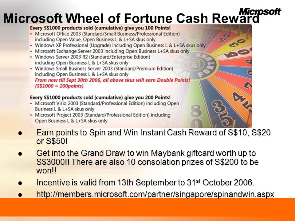 Microsoft Wheel of Fortune Cash Reward Earn points to Spin and Win Instant Cash Reward of S$10, S$20 or S$50.