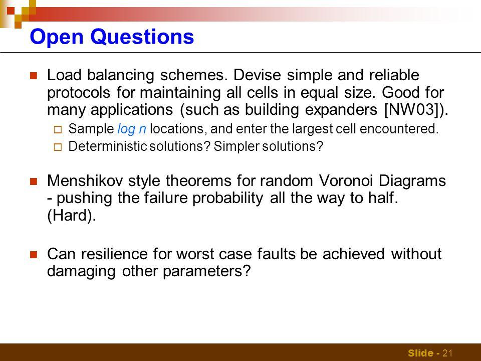 Slide - 21 Open Questions Load balancing schemes.