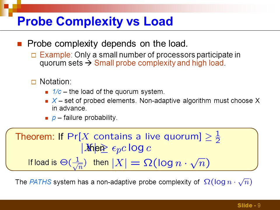 Slide - 9 Probe Complexity vs Load Probe complexity depends on the load.