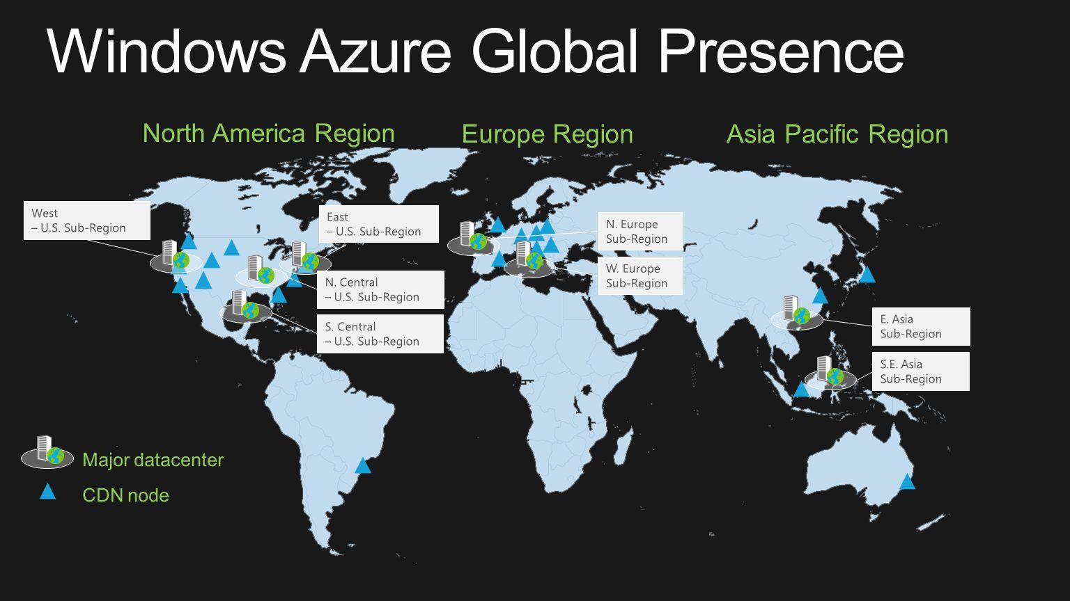 North America Region Europe RegionAsia Pacific Region Windows Azure Global Presence N. Central – U.S. Sub-Region S.E. Asia Sub-Region E. Asia Sub-Regi