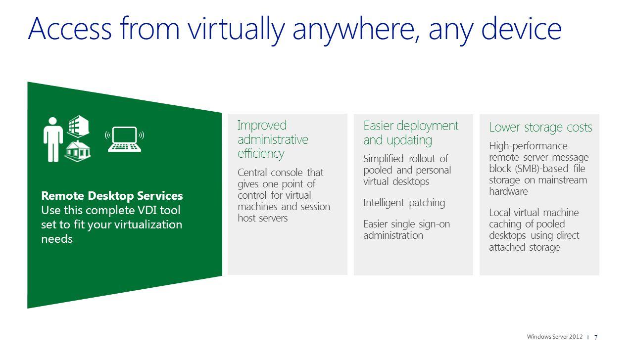 8 1 platform | 1 experience | 3 deployment choices Pooled virtual machines Desktop sessions Personal virtual machines