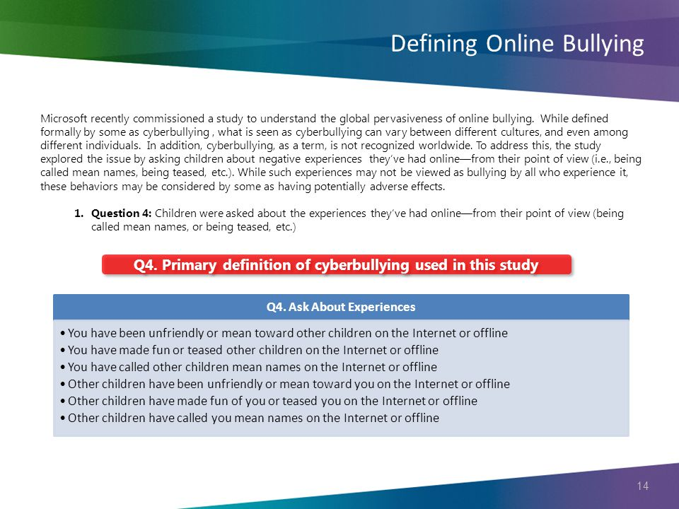 14 Defining Online Bullying Q4. Primary definition of cyberbullying used in this study Q4.