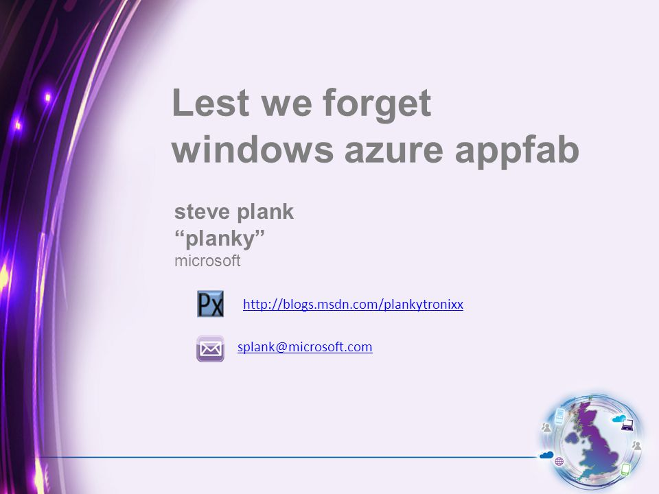 steve plank planky microsoft Lest we forget windows azure appfab splank@microsoft.com http://blogs.msdn.com/plankytronixx