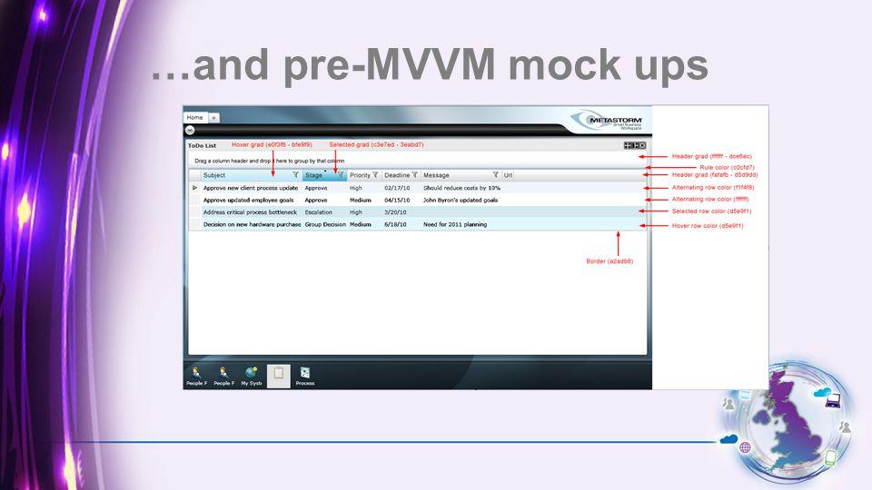 …and pre-MVVM mock ups