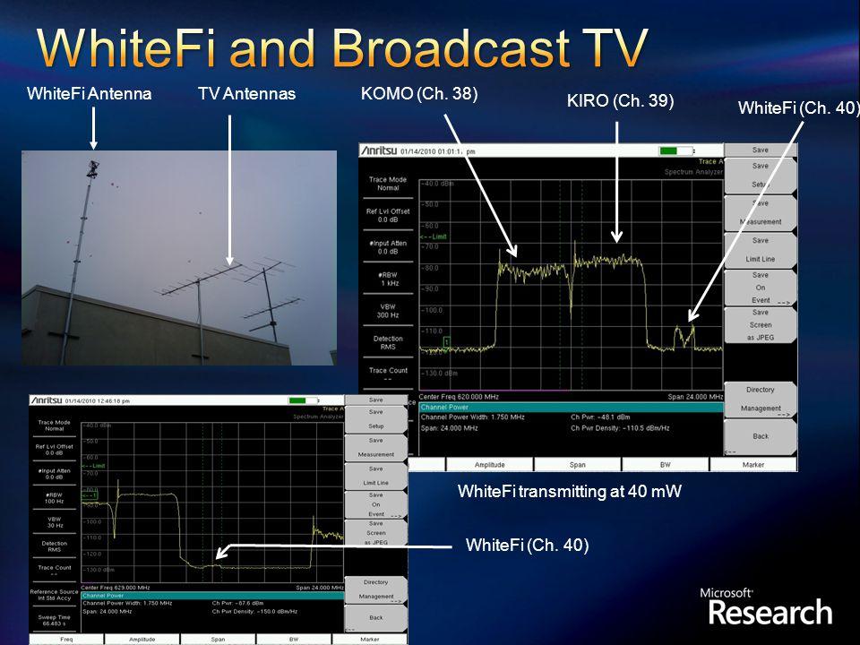WhiteFi AntennaTV Antennas Microsoft Campus Redmond (Bldg 41) WhiteFi transmitting at 40 mW KOMO (Ch.