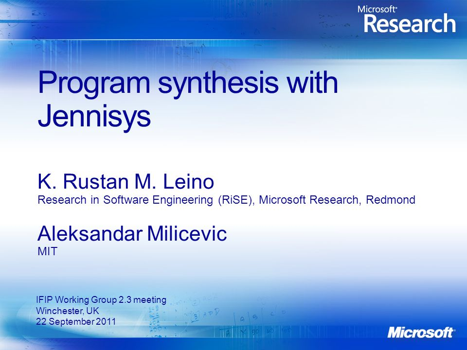 Program synthesis with Jennisys K. Rustan M.