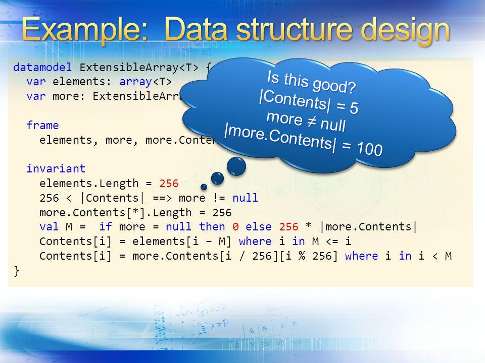 datamodel ExtensibleArray { var elements: array var more: ExtensibleArray >.