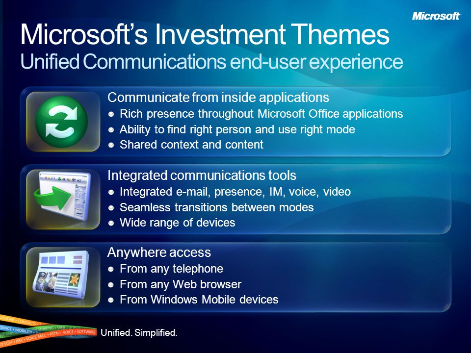 Communicate from within Applications Throughout Microsoft Office Integral presence Communicate and share content Click to communicate within Office Outlook Reply to e-mail with real-time communication Keep conversation history Schedule conferences Extend LOB applications Information Workers waste 30 minutes per week in phone tag; for 50% of calls Information Workers make, they have to look up the phone number.