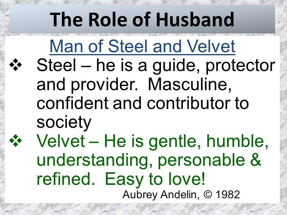 The Role of Husband Man of Steel and Velvet  Steel – he is a guide, protector and provider.