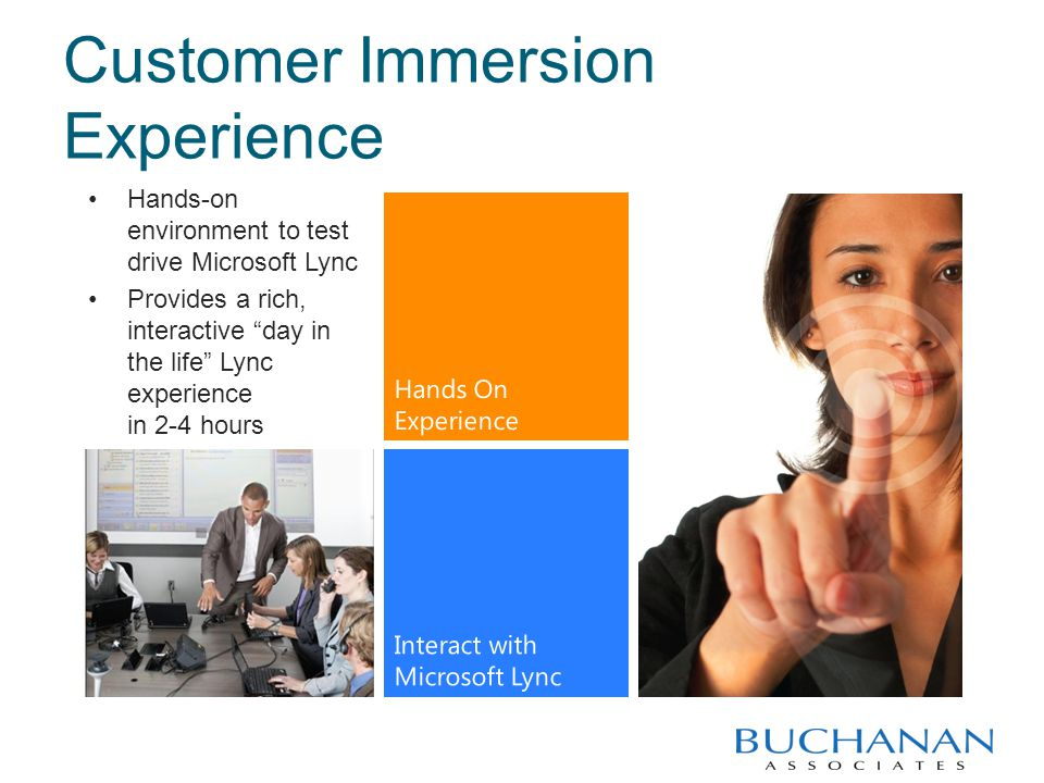 Customer Immersion Experience Hands-on environment to test drive Microsoft Lync Provides a rich, interactive day in the life Lync experience in 2-4 hours