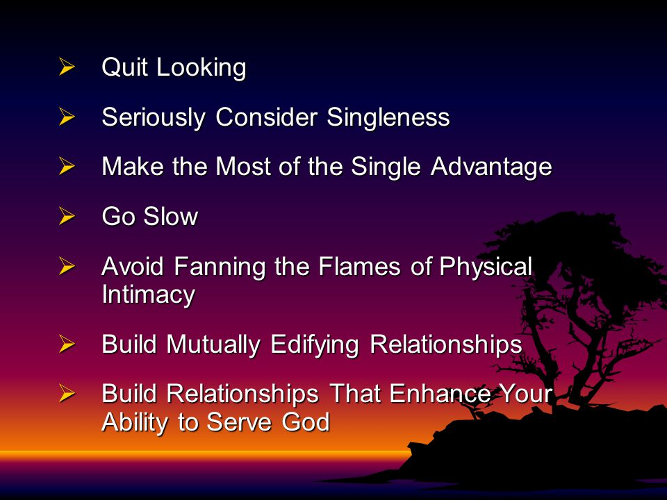  Quit Looking  Seriously Consider Singleness  Make the Most of the Single Advantage  Go Slow  Avoid Fanning the Flames of Physical Intimacy  Bui