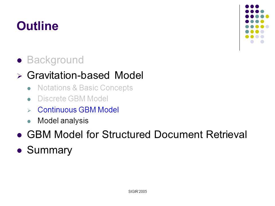 SIGIR'2005 Background  Gravitation-based Model Notations & Basic Concepts Discrete GBM Model  Continuous GBM Model Model analysis GBM Model for Structured Document Retrieval Summary Outline