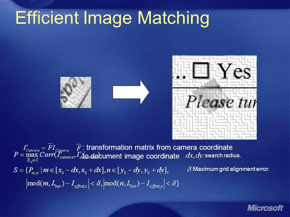                    nYXSW nYXSB kl i il j jk klji kl i il j jk klji /)),max(( /)),min((, 1 1 1 1,,, 1 1 1 1,, EIC Pattern Processing  kkkkk ijj n i kkkiik YXXXb bxyjSibxyJ k k k kk 1 1 2 }|||{,)( 1        Bits in camera FOV: 98.5bits in average Extracted bits: 93% in average Determine EIC pattern grid Determine orientation of pattern Determine the value of each bits