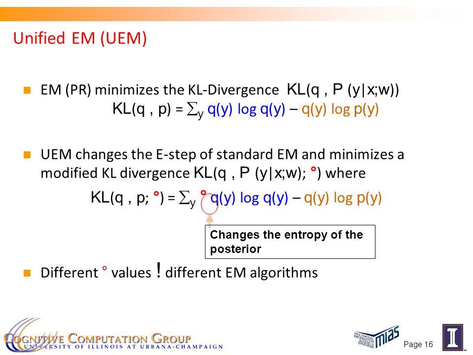 EM (PR) minimizes the KL-Divergence KL ( q, P ( y | x;w )) KL ( q, p ) =  y q ( y ) log q ( y ) – q ( y ) log p ( y ) UEM changes the E-step of stand