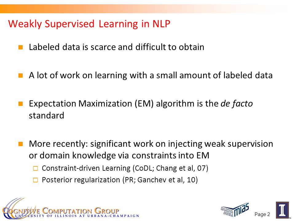 Weakly Supervised Learning: EM and ….