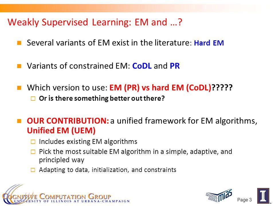 Outline Background: Expectation Maximization (EM)  EM with constraints Unified Expectation Maximization (UEM) Optimization Algorithm for the E-step Experiments Page 4