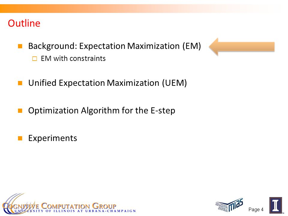 Outline Setting up the problem Introduction to Unified Expectation Maximization Lagrange dual-based optimization Algorithm for the E-step Experiments  POS tagging  Entity-Relation Extraction  Word Alignment Page 25