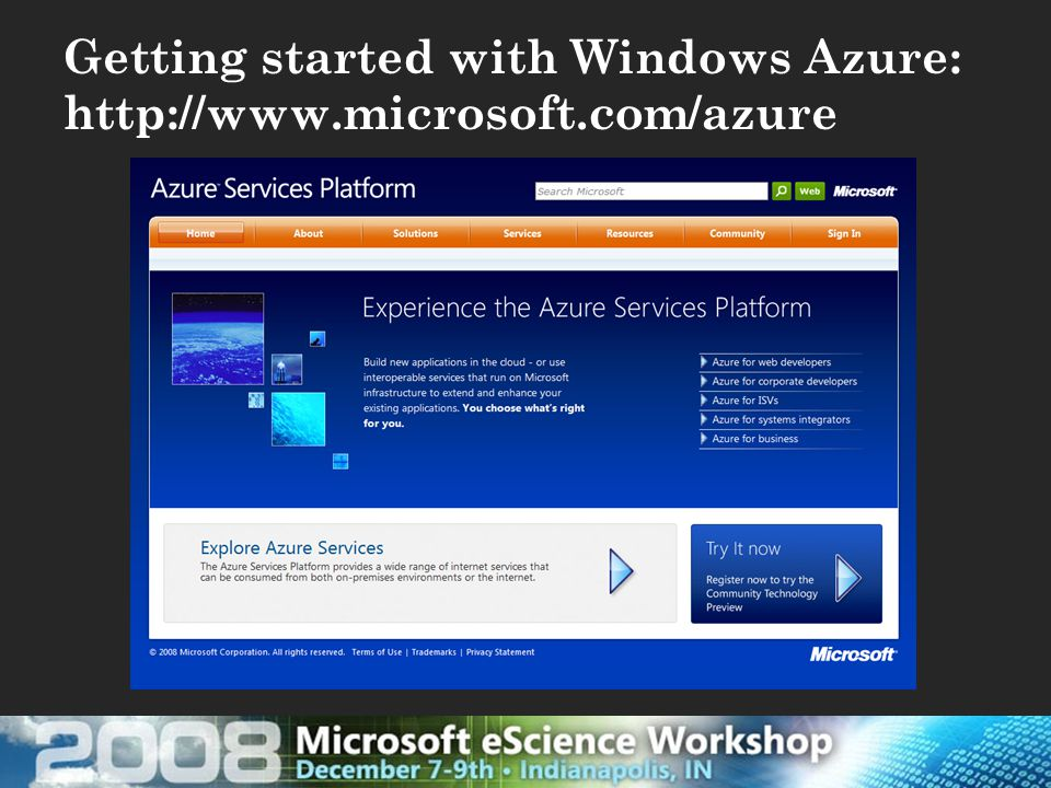 Getting started with Windows Azure: http://www.microsoft.com/azure