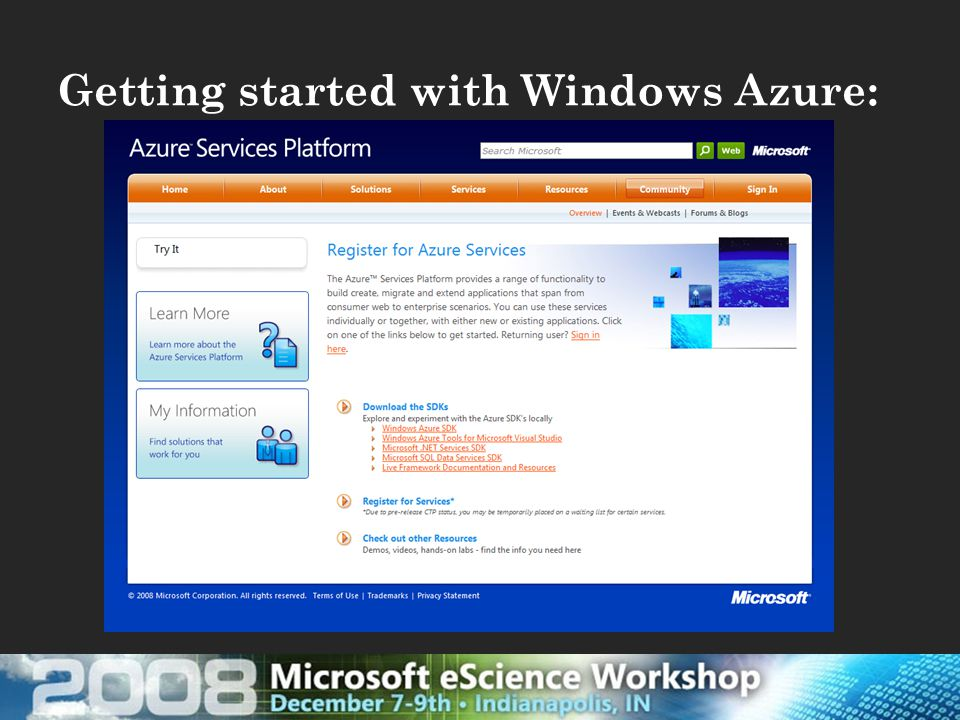 Getting started with Windows Azure: