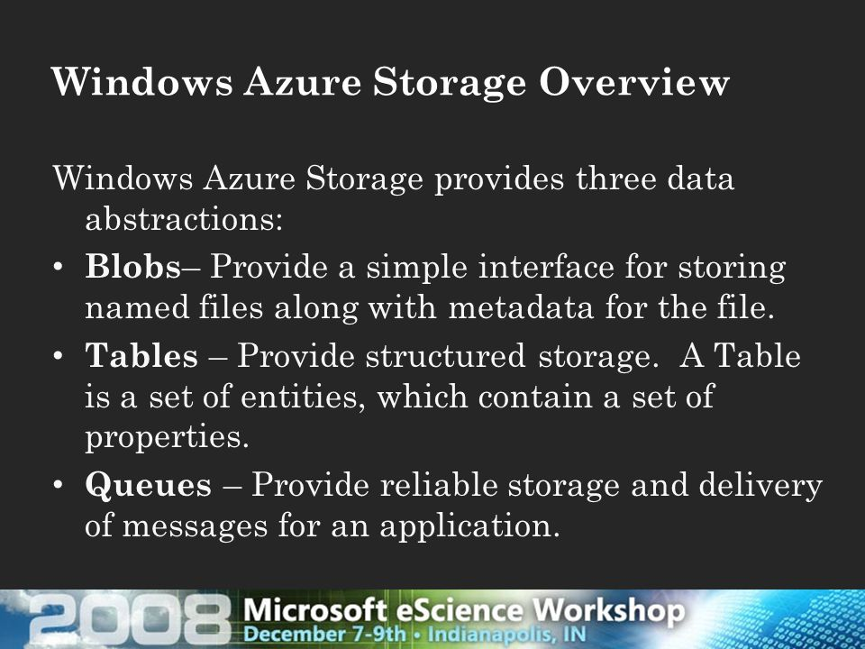 Windows Azure Storage Overview Windows Azure Storage provides three data abstractions: Blobs – Provide a simple interface for storing named files along with metadata for the file.