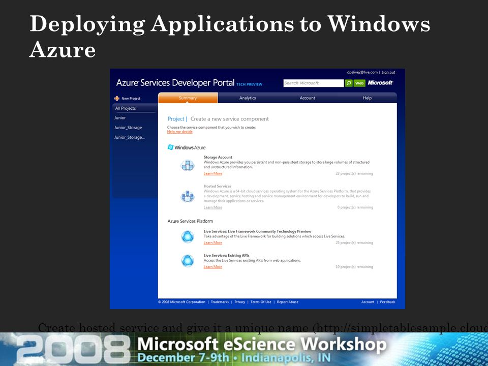 Deploying Applications to Windows Azure Create hosted service and give it a unique name (