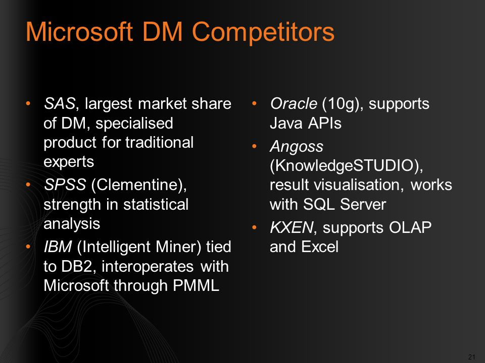 21 Microsoft DM Competitors SAS, largest market share of DM, specialised product for traditional experts SPSS (Clementine), strength in statistical an