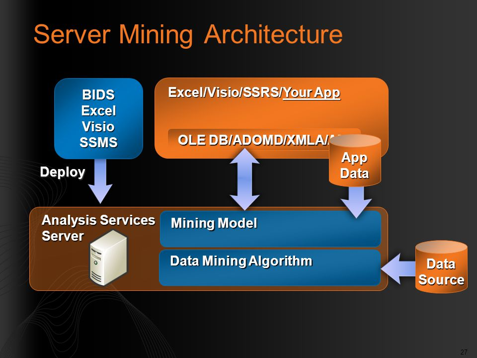 27 Analysis Services Server Mining Model Data Mining Algorithm DataSource Server Mining Architecture Excel/Visio/SSRS/Your App OLE DB/ADOMD/XMLA/AMO D