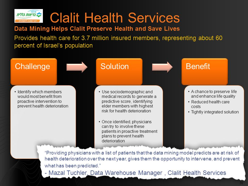 30 Clalit Health Services Challenge Identify which members would most benefit from proactive intervention to prevent health deterioration Solution Use