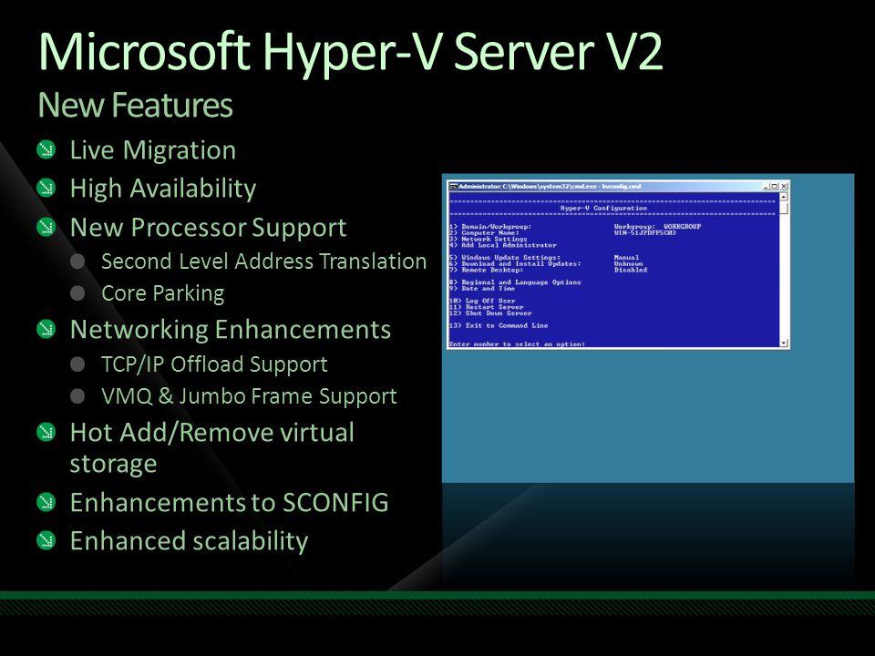 Microsoft Hyper-V Server V2 New Features Live Migration High Availability New Processor Support Second Level Address Translation Core Parking Networki