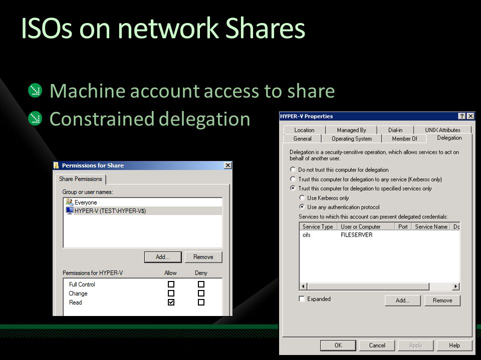 ISOs on network Shares Machine account access to share Constrained delegation