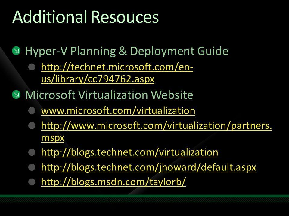 Additional Resouces Hyper-V Planning & Deployment Guide http://technet.microsoft.com/en- us/library/cc794762.aspx Microsoft Virtualization Website www