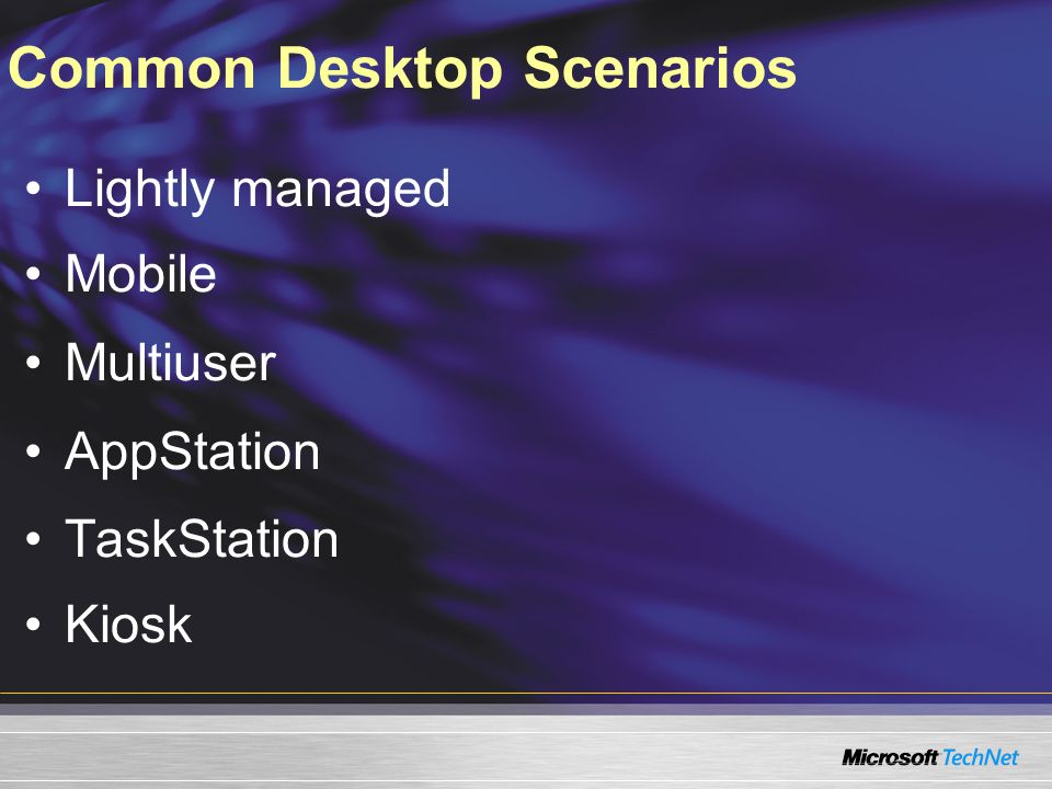 Common Desktop Scenarios Lightly managed Mobile Multiuser AppStation TaskStation Kiosk